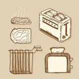 тостер Винтажный стиль, нарисованные рукой ручка и чернила Стоковое Изображение RF