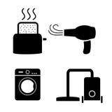 Тостер, фен для волос, стирка, значки пылесоса иллюстрация штока