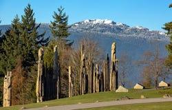 Тотемные столбы в парке Burnady Mountzin Стоковое фото RF
