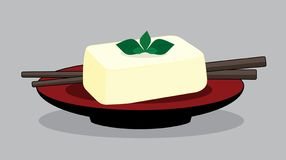 Тофу яйца на красной плите, соевом твороге Японии иллюстрация вектора