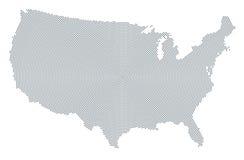 Точечный растр карты Соединенных Штатов Америки серый радиальный Стоковая Фотография RF