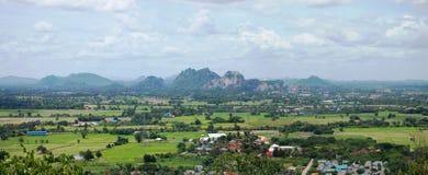 Точка зрения панорамы на Ratchaburi Таиланде стоковое изображение