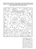 Точка-к-точка и страница расцветки - счастливый 100th день! - приветствие Стоковое фото RF
