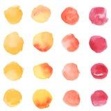 Точки желтого цвета, апельсина и красного цвета акварели Стоковое Изображение RF