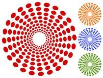 Точки, мотив кругов круговой, элемент Излучающ, радиальные точки Стоковые Изображения