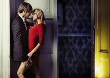 Точная съемка романтичной пары Стоковое Фото