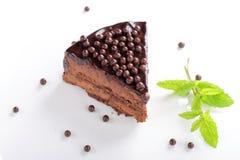 Точный обедать, близкий вверх торта сливк шоколада Стоковая Фотография