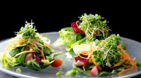 Точный обедая смешанный салат с ruccola, гайками сосны, яичками Стоковая Фотография