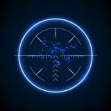 Точный объем снайпера, неоновая светящая иллюстрация вектора цели бесплатная иллюстрация