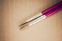 2 точных paintbrushes закрывают вверх Стоковые Фотографии RF