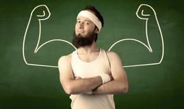 Тощий студент хочет мышцы Стоковая Фотография