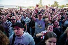 Толпа веселя людей наслаждаясь концертом в реальном маштабе времени Стоковое Изображение