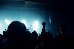 Толпа концерта музыки, люди наслаждаясь представлением в реальном маштабе времени утеса стоковое изображение rf
