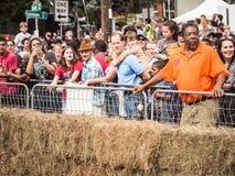 Толпа наблюдая красных гонщиков импровизированной трибуны Bull Стоковое Фото