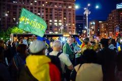 Толпа на протесте, Бухарест, Румыния Стоковое Изображение RF