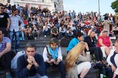 Толпа на священных шагах церков сердца Стоковое Изображение