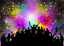 Толпа счастливых, удовлетворенных силуэтов людей Вектор Illustratio Стоковая Фотография RF