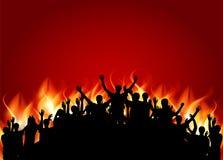 Толпа счастливых, удовлетворенных силуэтов людей Вектор Illustratio Стоковые Фотографии RF