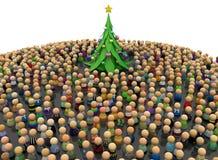 Толпа шаржа, дерево Нового Года иллюстрация вектора