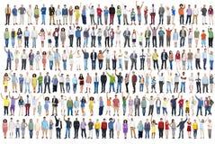 Толпа c общины счастья торжества успеха разнообразия людей стоковые фотографии rf