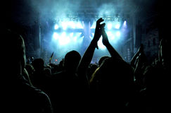 Толпа partying людей на концерте в реальном маштабе времени Стоковые Фото