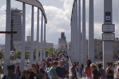 Толпитесь на ramabla Del Mar, Барселоне, Испании Стоковое фото RF