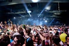 Толпитесь танец в концерте на фестивале звуколокации Стоковое фото RF