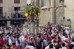 Толпы на шествии в честь St Доминго, Испании Стоковые Фотографии RF
