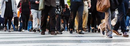 Толпы людей пересекая улицу города стоковые фотографии rf