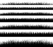 Трава граничит силуэт на белой предпосылке Стоковое Изображение