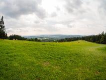 Трава и белое облачное небо, естественная панорама Стоковая Фотография