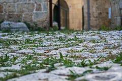 Трава и камень Мощенная булыжником улица в Otranto Стоковое Изображение RF
