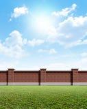 Трава кирпичной стены и голубое небо Стоковые Фото