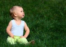 трава мальчика сидит Стоковое Изображение