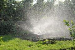 Трава спринклера моча в саде переплетать воду брызгает, автоматическая забота лужайки, личная оросительная система в таунхаусе стоковое изображение