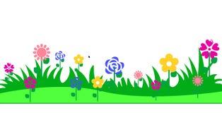 Трава цветков покидает граница предпосылки Стоковые Изображения RF