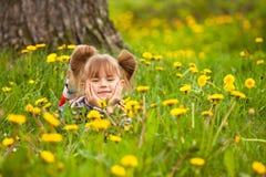 трава 5 девушок меньший лежа год Стоковое Изображение