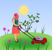 травокосилка девушки иллюстрация вектора