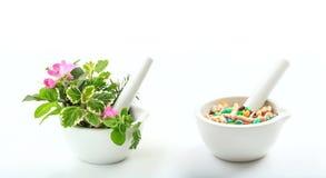 Травы и пилюльки в минометах на белой предпосылке Стоковые Изображения RF
