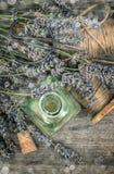 Травяная суть масла и dreied цветки лаванды Года сбора винограда li все еще Стоковое Изображение