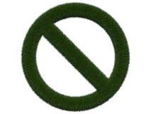 Травянистый знак запрета на белой предпосылке Изолированная цифровая иллюстрация перевод 3d Стоковые Изображения RF