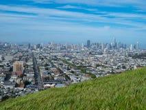 Травянистый луг обозревая горизонт Сан-Франциско стоковая фотография