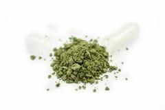Травяное лекарство показанное разливать из капсулы Стоковое фото RF