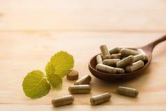 травяное лекарство или пилюлька на древесине Стоковая Фотография RF