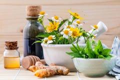 Травяное, мед и полевой цветок альтернативного здравоохранения свежее с Стоковые Изображения RF