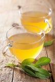 Травяной мудрый чай с зелеными лист в стеклянных чашках Стоковая Фотография