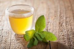Травяной мудрый чай с зеленым цветом выходит в стеклянные чашки Стоковое фото RF