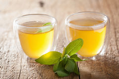 Травяной мудрый чай с зеленым цветом выходит в стеклянные чашки Стоковое Фото