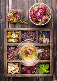 Травяной чай и высушенные травы в деревянной коробке Стоковые Фото