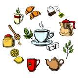 Травяной чай, помадки и посуда иллюстрация штока